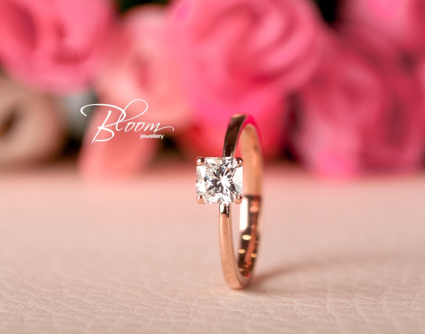 Radiant Cut Diamond Engagement Ring 18K Rose Gold