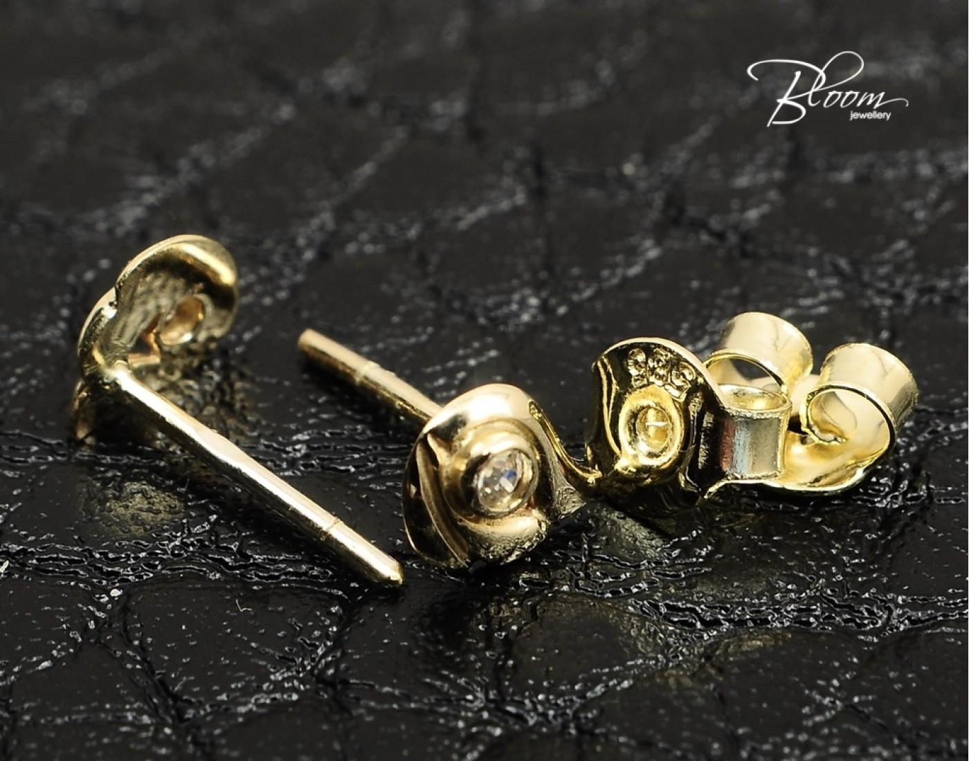 delicate pin with stud real earrings plated gold
