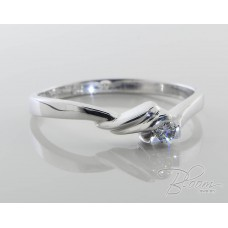 Diamond Engagement Ring in 18K Solid White Gold