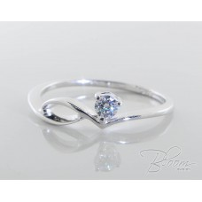 Unique Engagement Ring with Diamond and White Gold