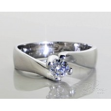 Unique Engagement Ring with Diamond 18K White Gold