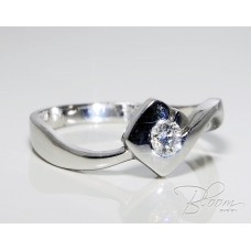 White Gold Engagement Ring with Natural Diamond