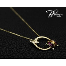 Adorable Ladybug Necklace with Cubic Zirconia