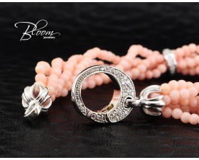 Unique Diamond Pink Coral Bracelet 18K