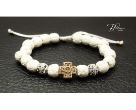 Stylish Mens Bracelet with Cross, Gold and Lava Stones