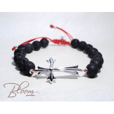 Mens Cross Bracelet with Lava Stones