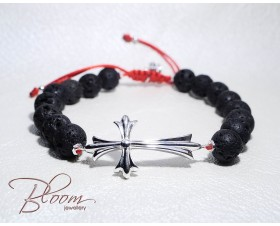 Mens Cross Bracelet with Lava Stones