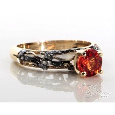 Magnificent Rose Gold Ring with Orange Sapphire and Diamonds 18K