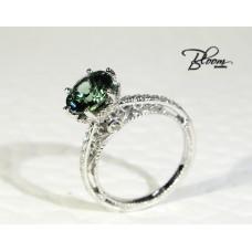 Unique Vintage Diamond Ring with Tourmaline 18K