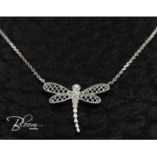 Diamond Dragonfly Necklace 18K White Gold