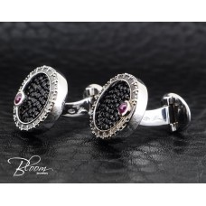 Stylish Stingray Cufflinkls with Ruby and White Gold