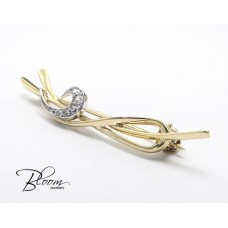 Elegant Gold Brooches with Cubic Zirconia 14K