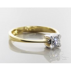 Classic Engagement Ring with Diamond 18K White and Yellow Gold