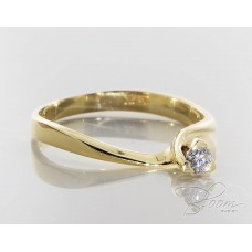 Unusual Engagement Diamond Ring 18K Yellow Gold