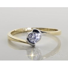 Delicate Diamond Engagement Ring 18К White and Yellow Gold