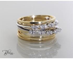 Ladies Diamond Ring 18K White and Yellow Gold