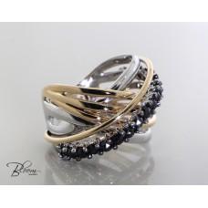Fashion Black Diamond Ring 18K White and Pink Gold