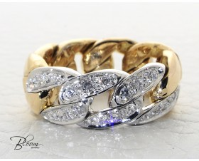 Fashion Ladies Ring with Diamond 18K White and Rose Gold