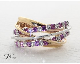 Ladies Ring with Diamond and Pink Sapphire