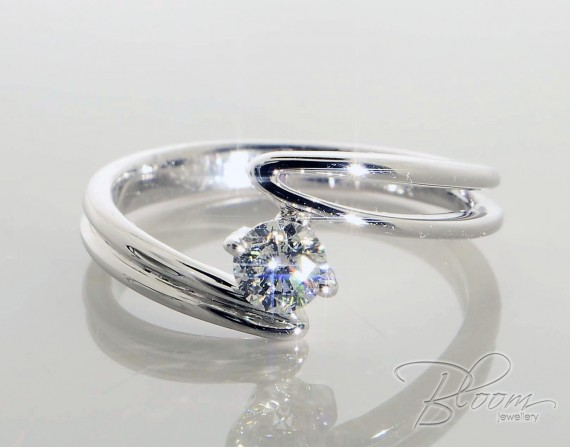 Unusual Engagement Ring With Natural Diamond Stone