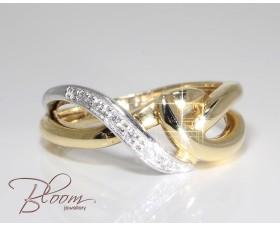 Criss Cross Diamond Ring 18K White and Yellow Gold