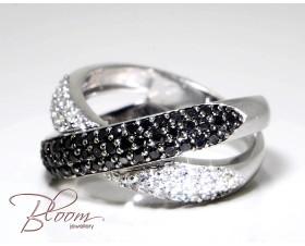 Fancy Criss Cross Black and White Diamond Ring