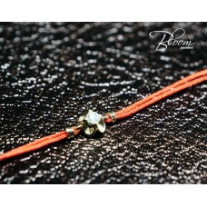 Red String Bracelet with Diamond Yellow Gold Flower