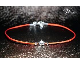 Diamond Red Strin Bracelet with White Gold Flower