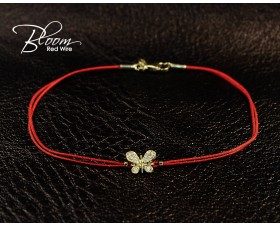 Red String Bracelet with Yellow Gold Diamond Butterfly