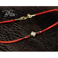 Four Leaf Clover Red String Bracelet 18K Solid Yellow Gold Bloom Jewellery