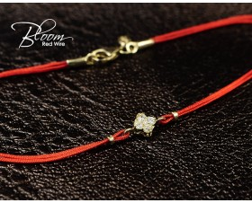 Four Leaf Clover Red String Bracelet 18K Solid Yellow Gold