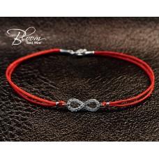 Eternity Diamond Red String Bracelet 18K White Gold
