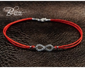 Eternity Diamond Red String Bracelet 18K White Gold