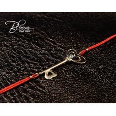 Diamond Gold Key Red String Bracelet