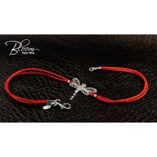 Diamond Dragonfly Red String Bracelet 18K White Gold Bloom Jewellery