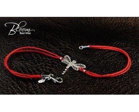 Diamond Dragonfly Red String Bracelet 18K