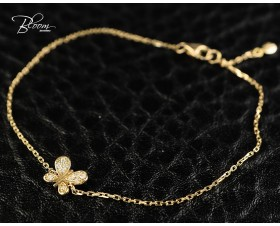 Delicate Rose Gold Bracelet with Diamond Butterfly 18K