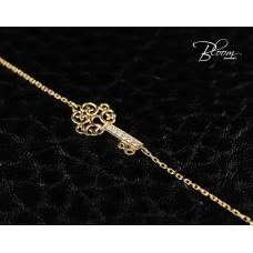 Ladies Rose Gold Bracelet with Elegant Diamond Key