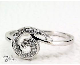 Swirl Diamond Ring 14K White Gold
