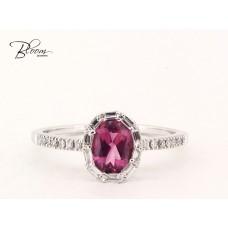 Halo Pink Sapphire Diamond Ring