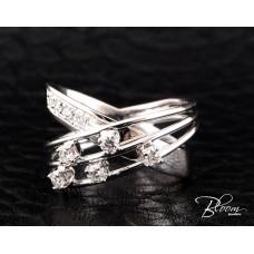Incredible Criss Cross Diamond Ring 18K White Gold