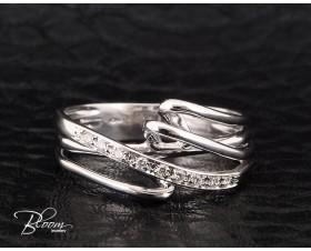 Unusual Diamond Ring 18K White Gold