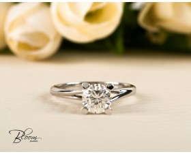 One Carat Diamond Ring Certified Brilliant Cut Stone Engagement Ring by Bloom Jewellery