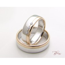 Heavy Wedding Rings in 14K White and Rose Gold and CZ Stones
