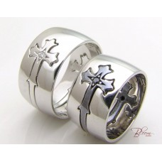 Black and White Gold Wedding Rings 14K Gold and Black or White Diamonds
