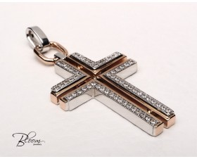 White Pink Gold Cross Necklace