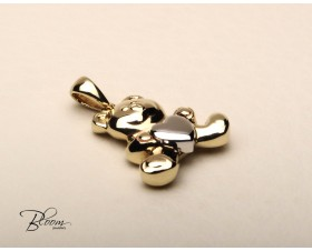 Cute Bear Pendant 14K White Yellow Gold