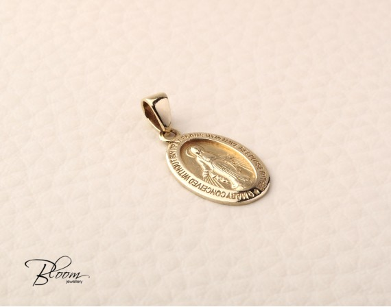 Solid Gold Saint Mary Pendant 14K Yellow Gold