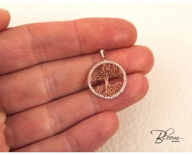 14K Rose Gold Tree of Life Cubic Zirconia Pendant Bloom Jewellery