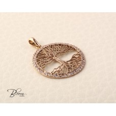 Solid Gold Life Tree Pendant 14K